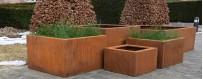 Donice ogrodowe z cortenu, donice miejskie zewnętrzne