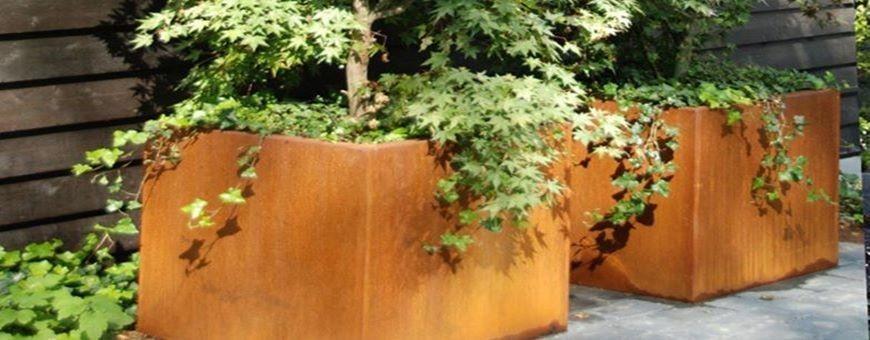 Donice miejskie ogrodowe z cortenu - duże rozmiary