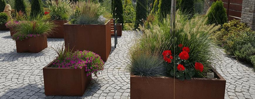 Donice z cortenu, nowoczesne donice stalowe do ogrodu - wyprzedaż